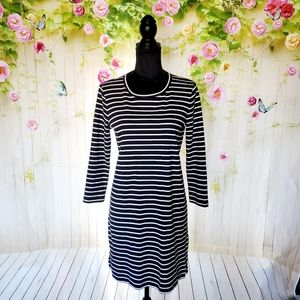 Madewell striped keyhole back shift dress
